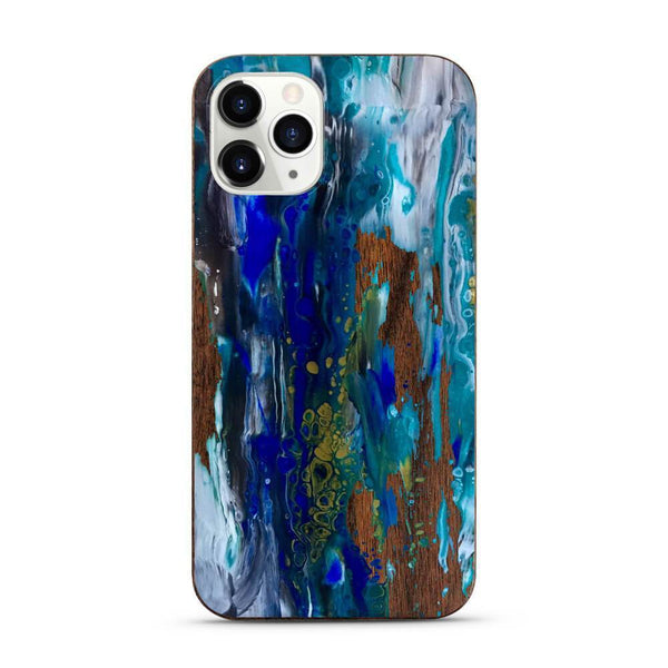 Blue Ocean - Painted Wood Mobile Phone Case - Minca Cases Australia