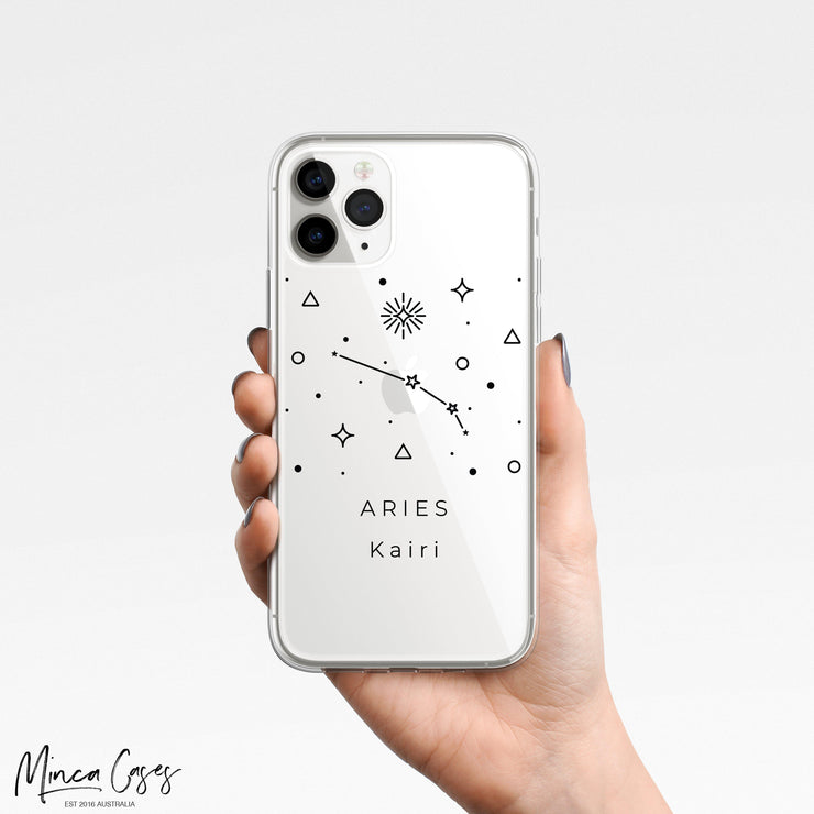 Astronomy Constellation Zodiac Star Sign Horoscope Custom Personalised Name Monogram Mobile Phone Case-Minca Cases