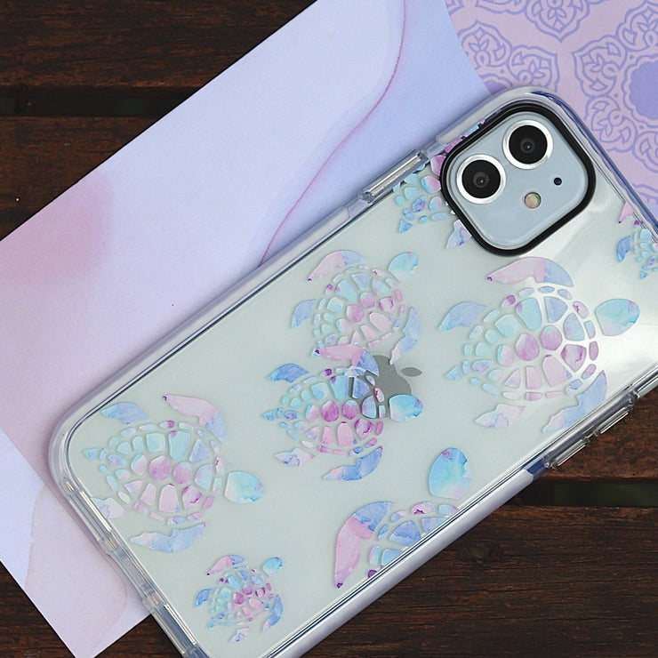 Watercolour Turtle - Protective White Bumper Mobile Phone Case