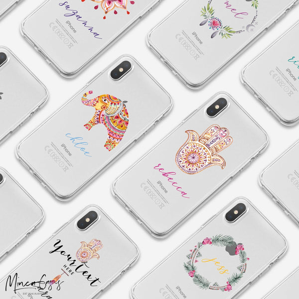 Peace & Love Boho Custom Personalised Name Monogram Mobile Phone Case - Minca Cases Australia
