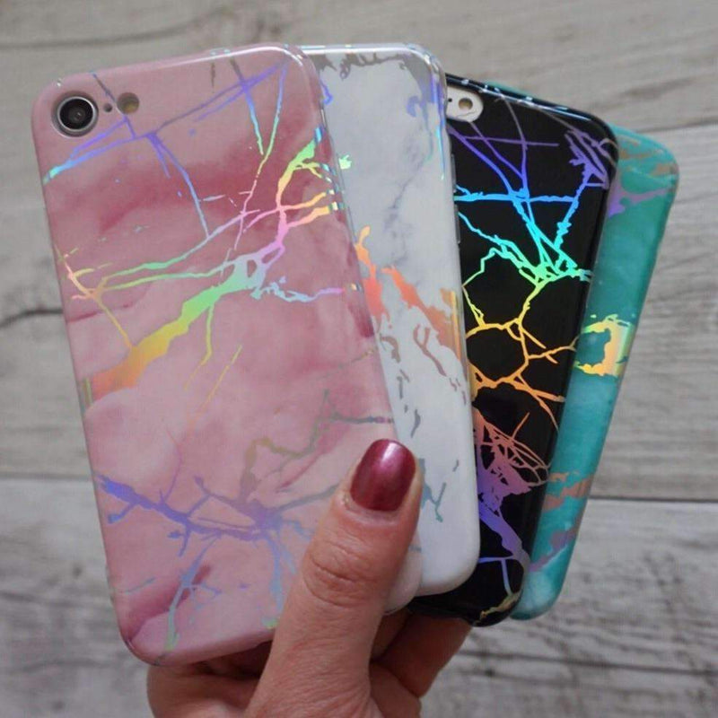 Pink Holographic Chrome Marble Mobile Phone Case - Minca Cases Australia