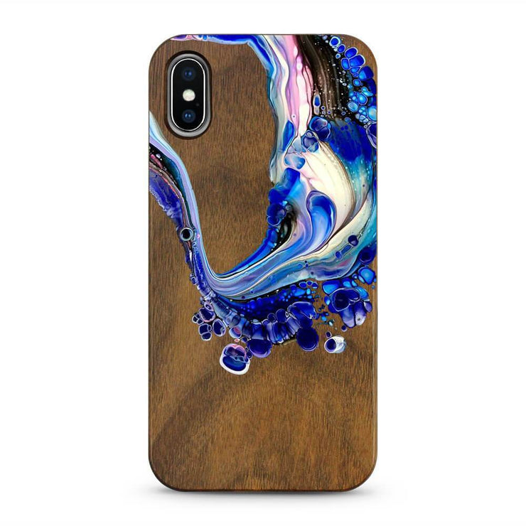 Purple Swirl - Painted Acrylic Wood Mobile Phone Case-Minca Cases