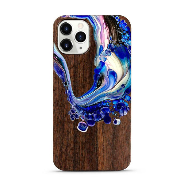 Purple Swirl - Painted Wood Mobile Phone Case - Minca Cases Australia