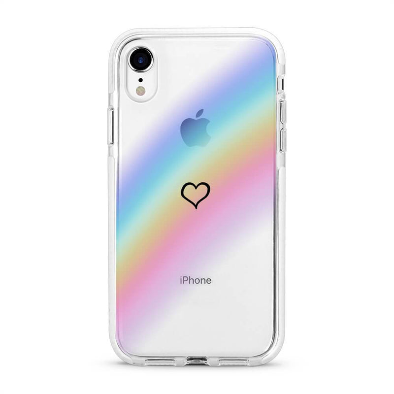 Rainbow Heart - Protective White Bumper Mobile Phone Case - Minca Cases Australia