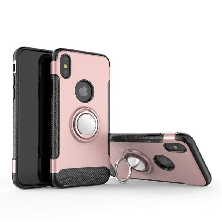 Rose Gold Hybrid Shockproof Ring Stand Mobile Phone Case - Minca Cases Australia