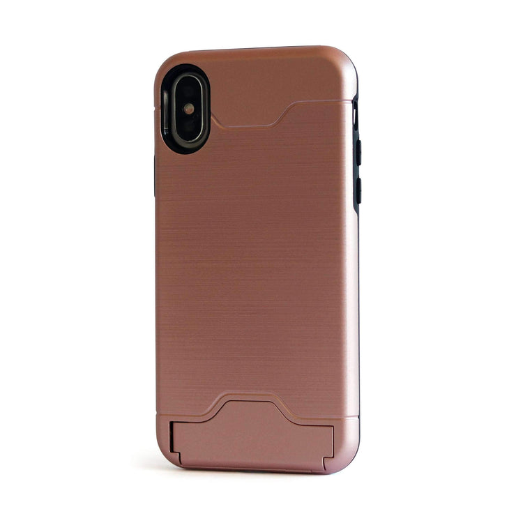Rose Gold Shockproof Card Holder Mobile Phone Case - Minca Cases Australia