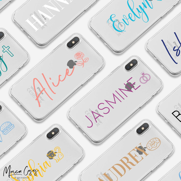 Simple Emoji Vertical Text Custom Personalised Name Monogram Mobile Phone Case - Minca Cases Australia