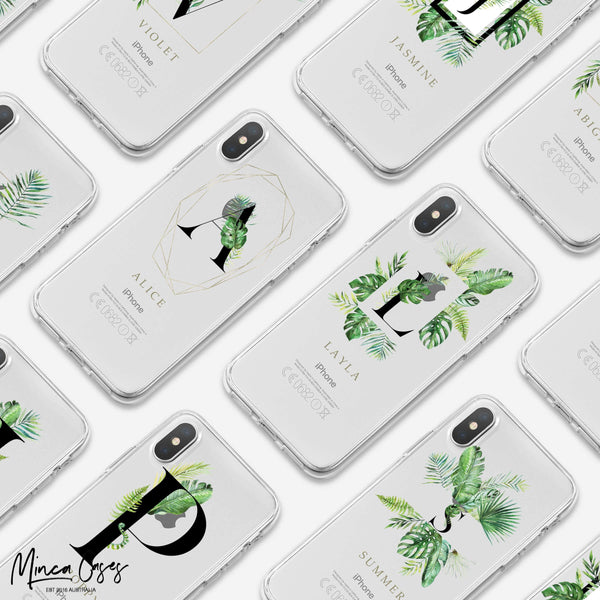 Tropical Alphabet Custom Personalised Monogram Name Mobile Phone Case - Minca Cases Australia