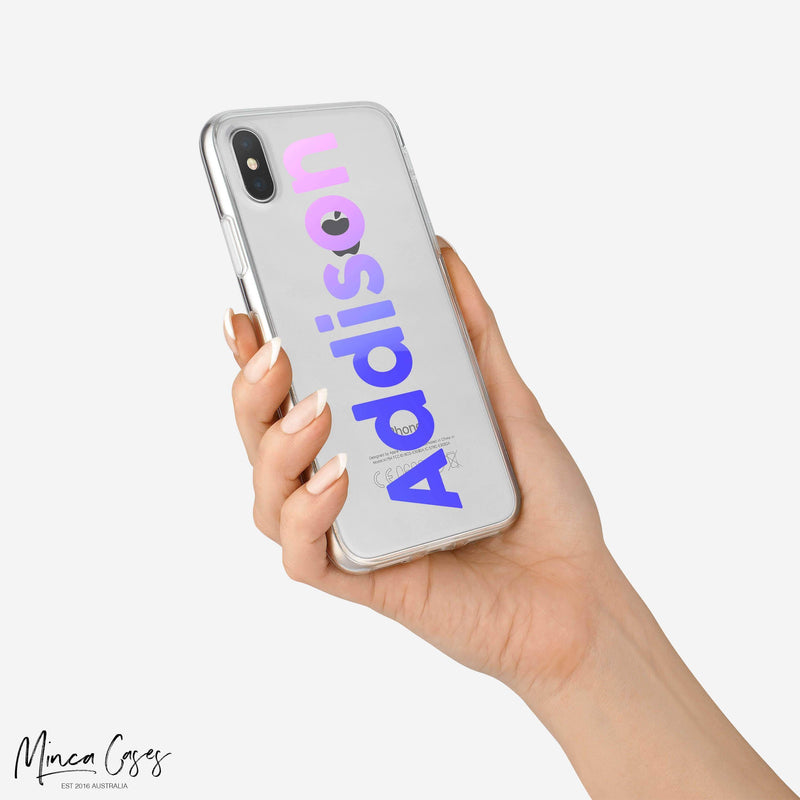 Vertical Gradient Text  Custom Personalised Name Monogram Mobile Phone Case - Minca Cases Australia