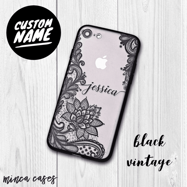 Vintage Vine Leaves Custom Personalised Name Monogram Mobile Phone Case - Minca Cases Australia