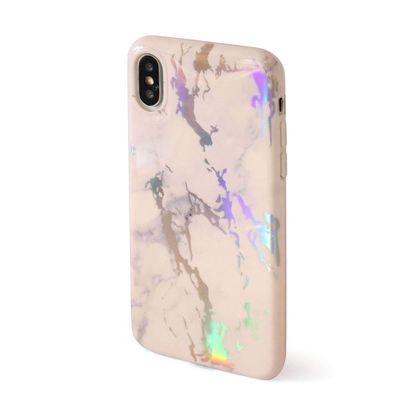 White Holographic Chrome Marble Mobile Phone Case - Minca Cases Australia
