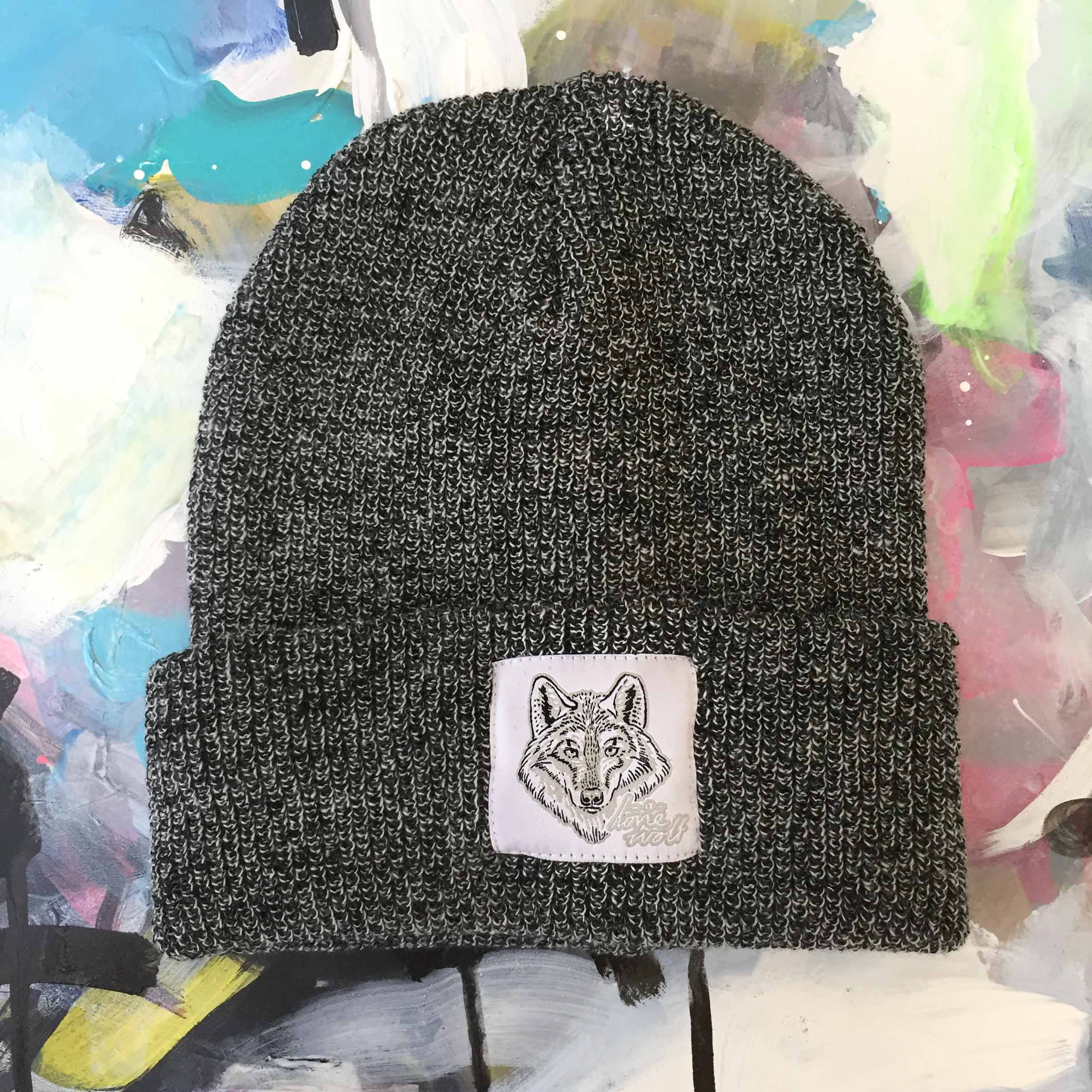 Lone Wolf -  Grey Speckled Beanie