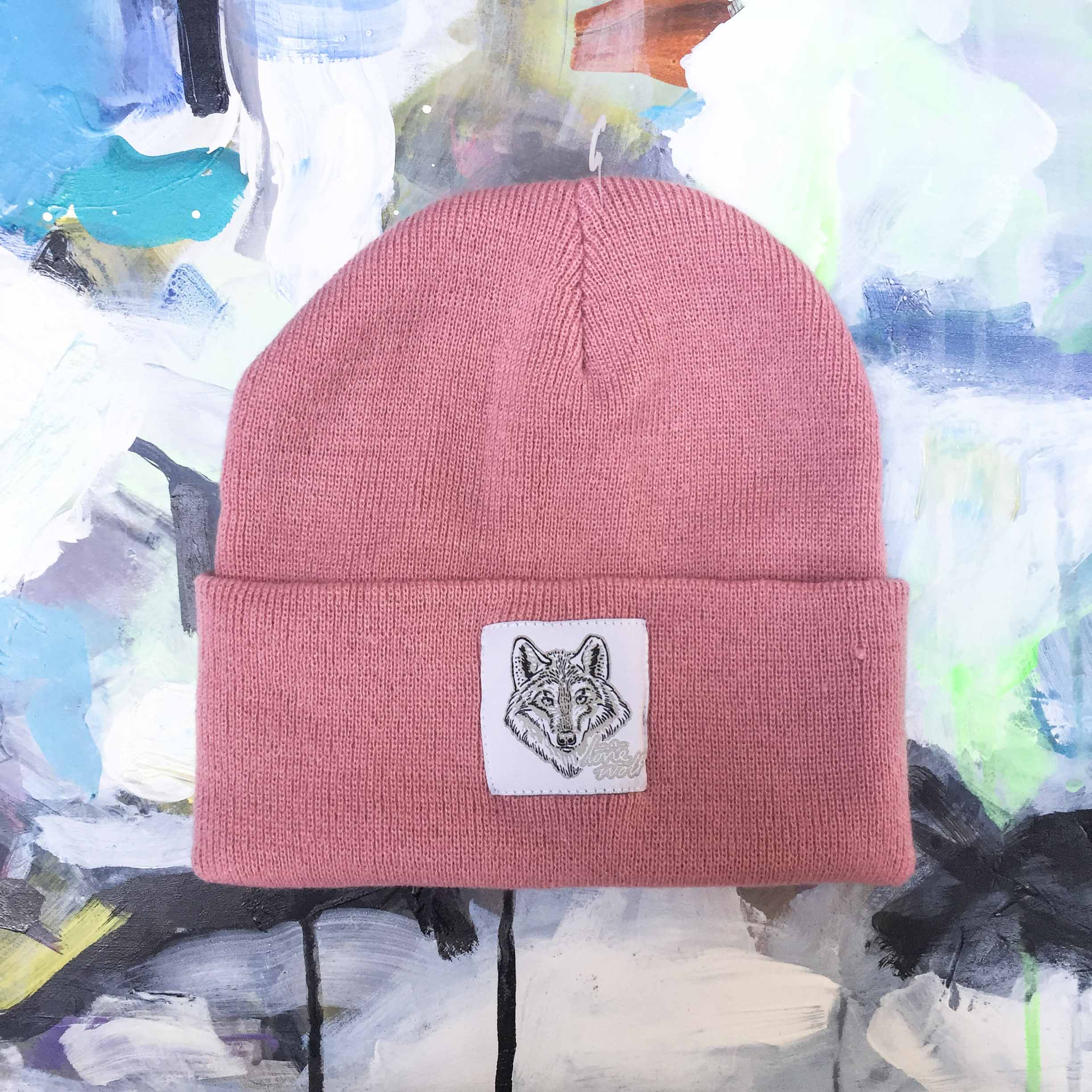 Lone Wolf Dusty Pink Beanie