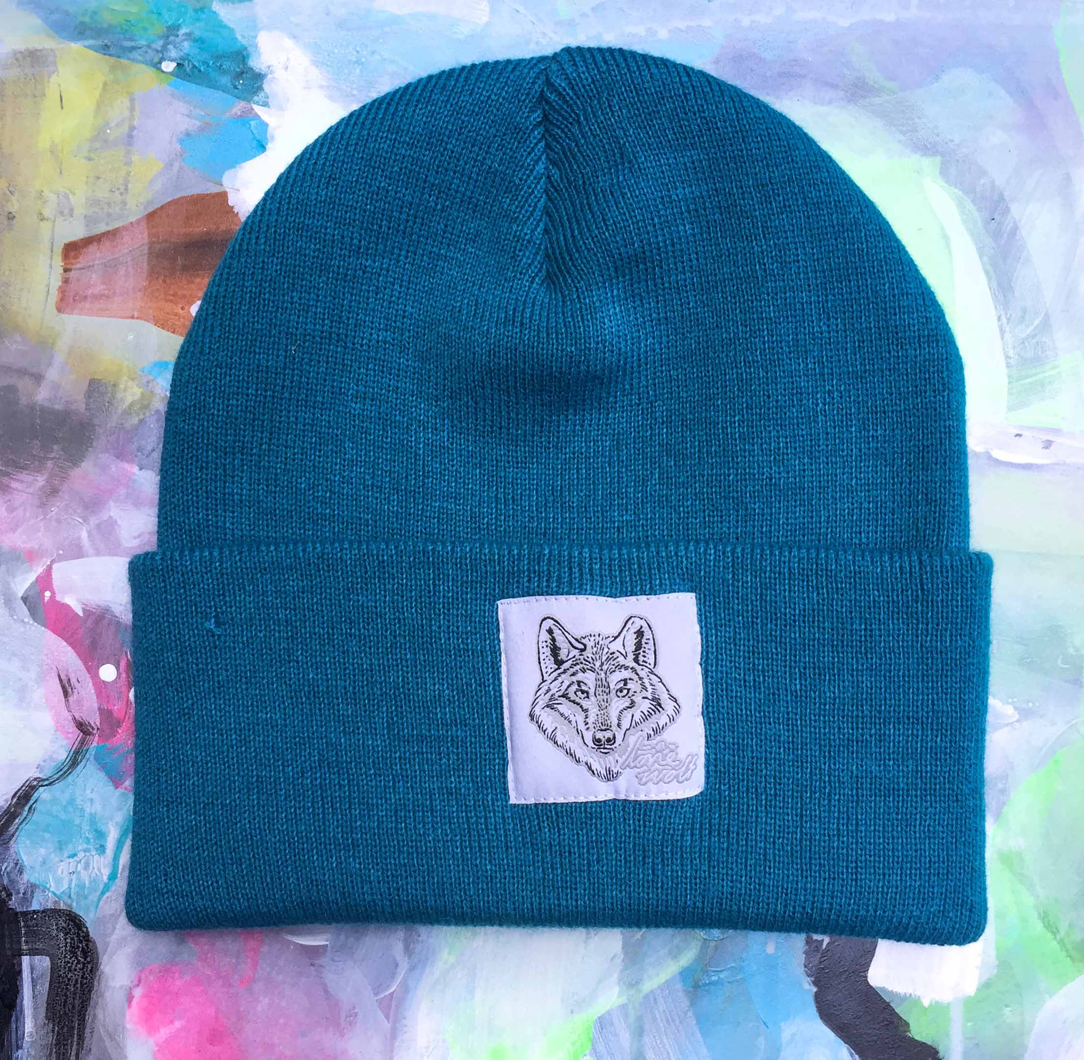 Lone Wolf -  Turquoise Beanie