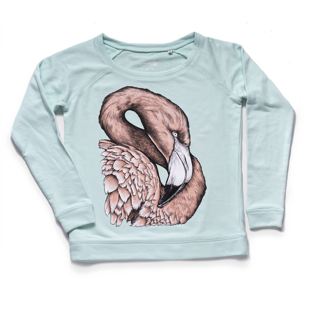 womens flamingo jumper sweatshirt organic cotton