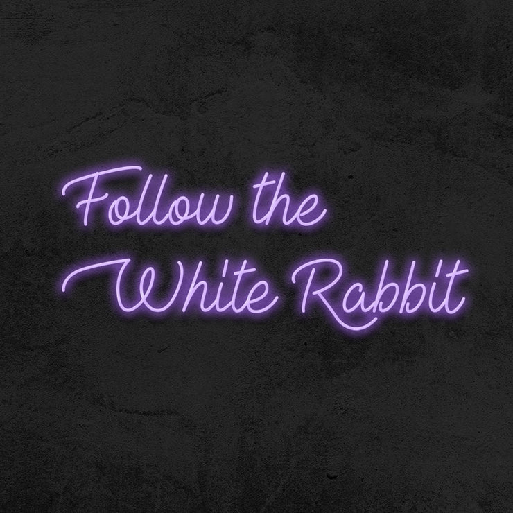 follow the white rabbit neon sign led mk neon