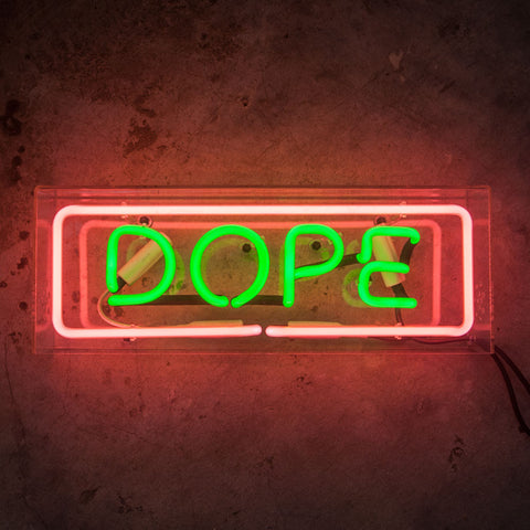 DOPE Neon Sign in Acrylic Box - MK Neon