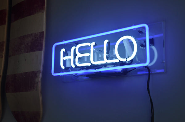 HELLO Neon Sign in Acrylic Box - MK Neon