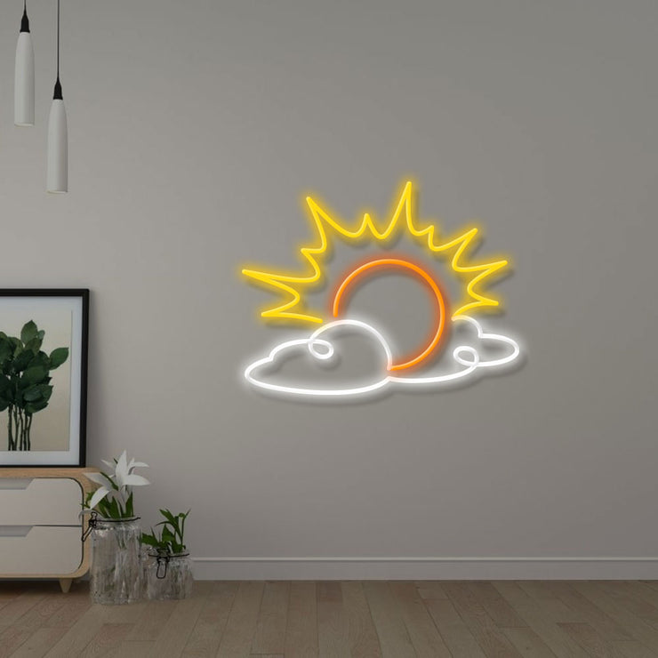Abstract Art Drawing Sun - Custom Neon Sign
