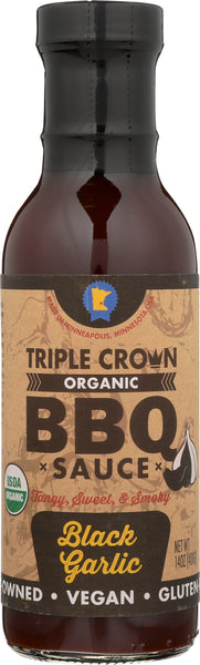 Triple Crown Organic BBQ Sauce Black Garlic (14oz, 3-pack)