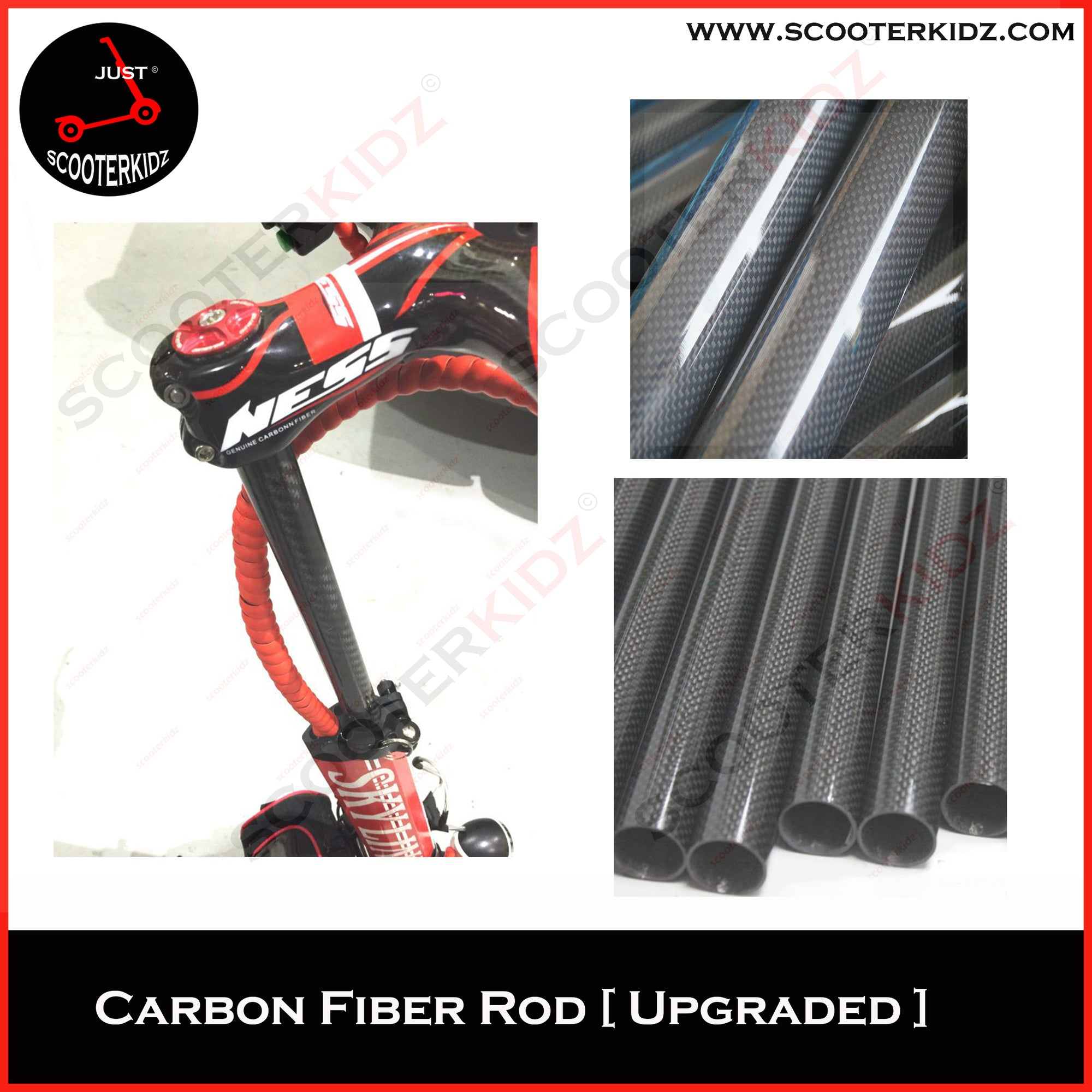 Scooterkidz Carbon Fiber Steering Rod (100% Carbon Fiber, Tested) Upgraded thicker