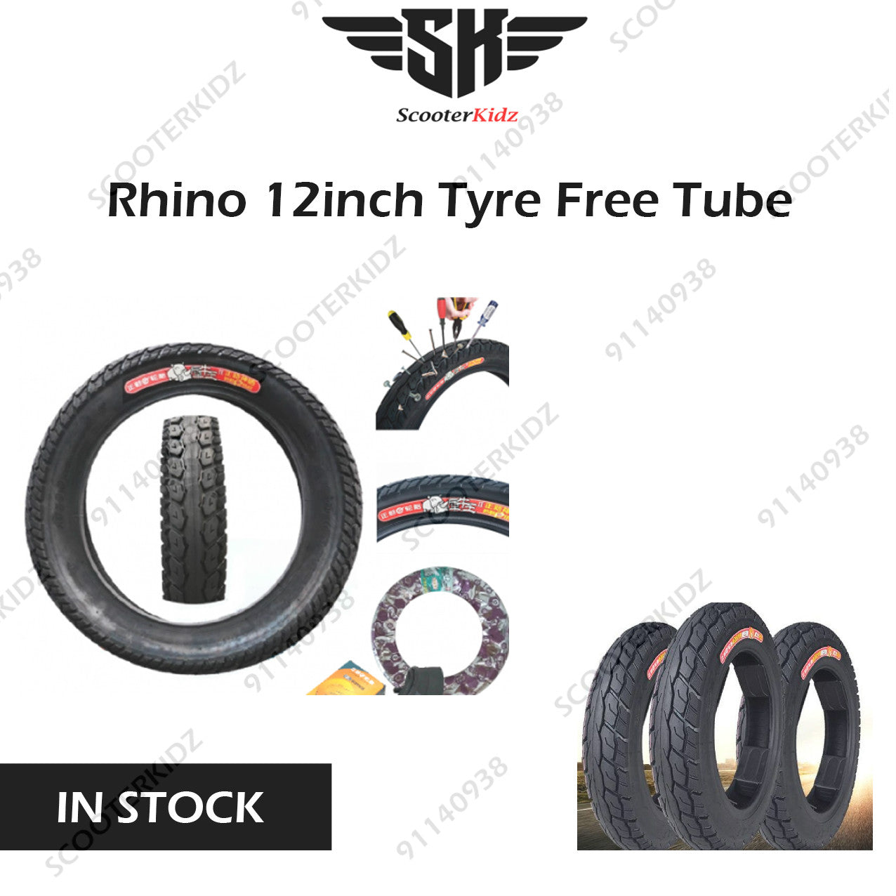 Rhino 12 inch Tire with FREE inner tube
