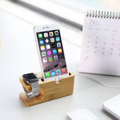 Wood Bamboo Stand For Apple Watch and iPhone