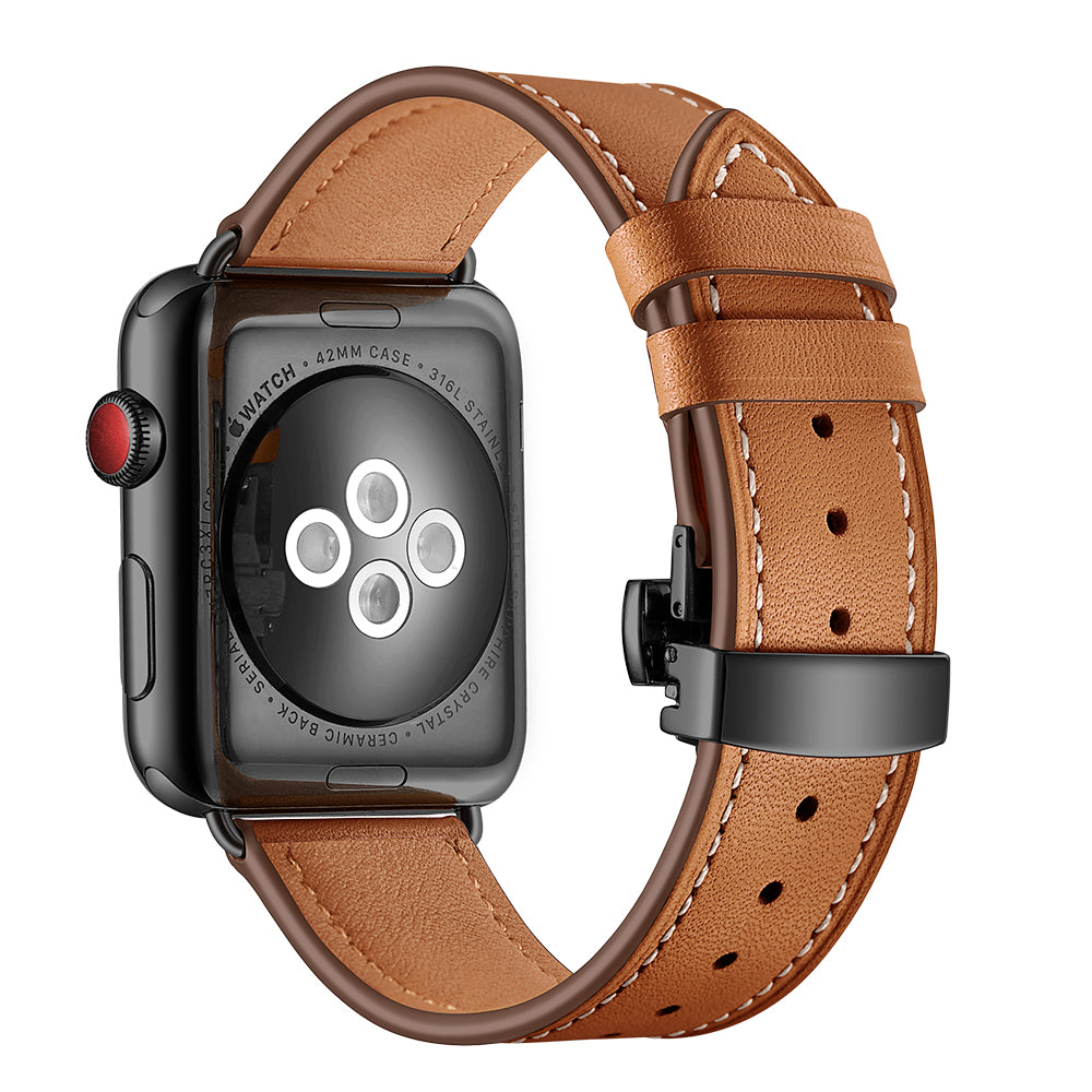 Leather Deployant Band for Apple Watch