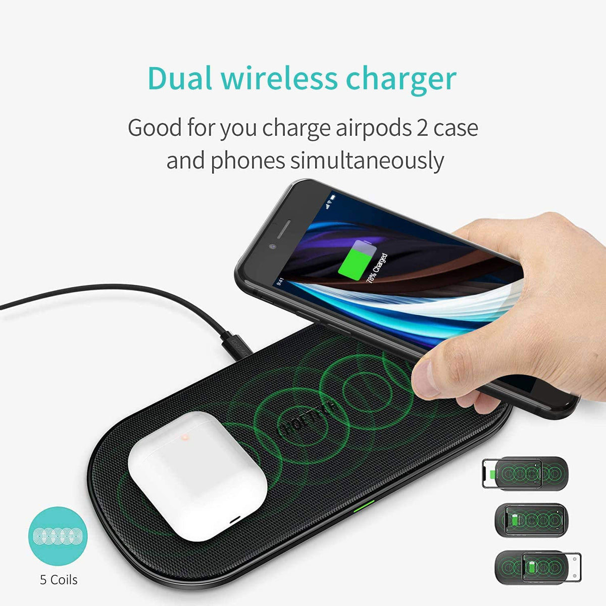 Dual Wireless Charging Pad with Adapter