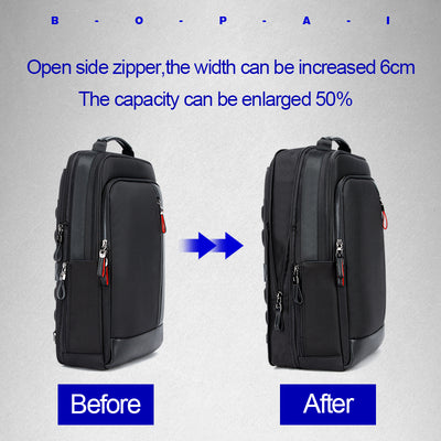 Leather Backpack with USB Port