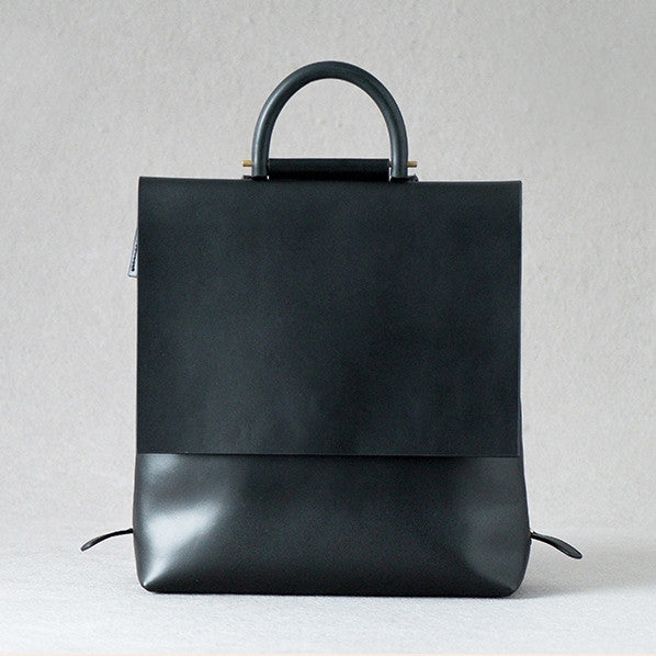 Black Leather Designer Backpack for Women