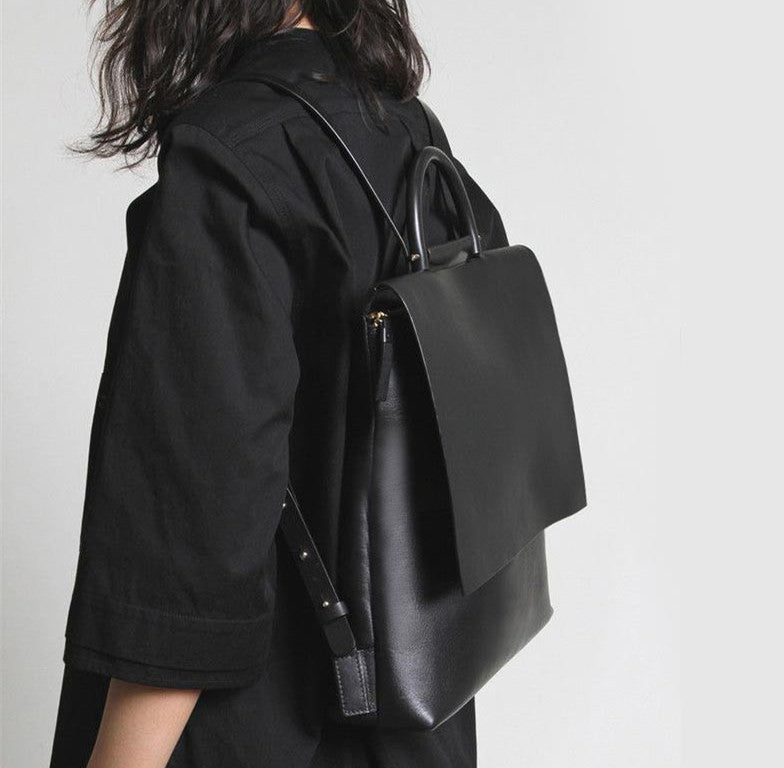 Black Leather Backpack for women-1