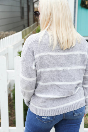 Striped Snowflake Sweater, Grey