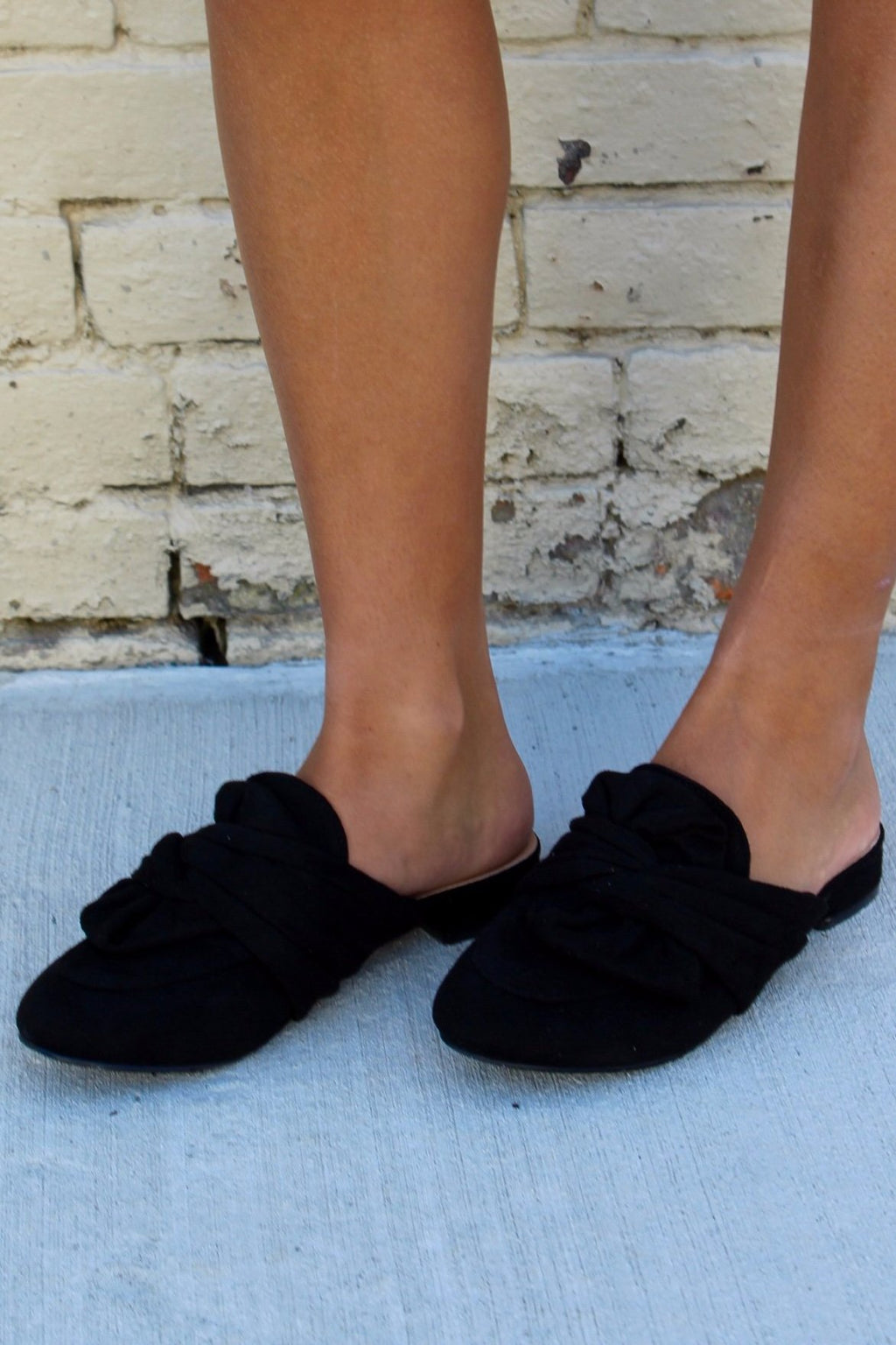 Suede Slip-On Flats, Black