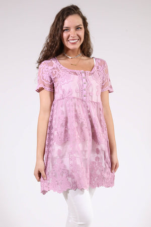 Lace Baby-Doll Tunic, Mauve