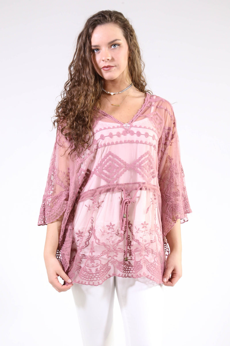 Covered In Lace Poncho, Mauve
