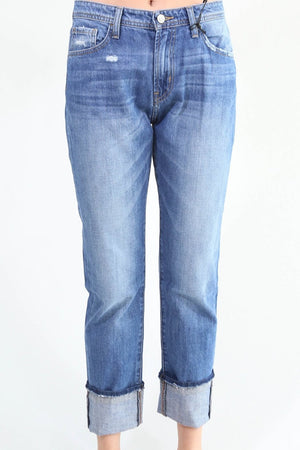Cuffed High Rise Denim Jeans