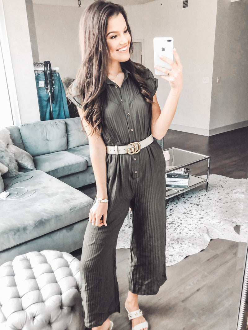 Cropped Collared Button Jumpsuit, Army Green