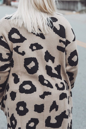 Covered in Leopard Cardi, Taupe