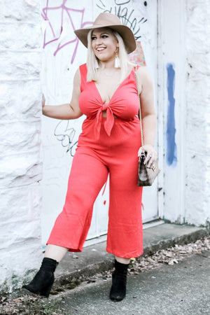 Tie The Knot Jumpsuit, Red