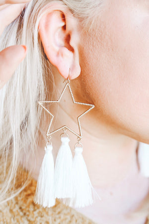 Shine Bright Tassel Earring, White
