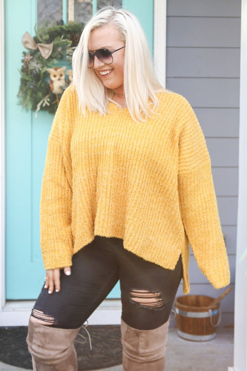Terry High-Low Sweater, Mustard