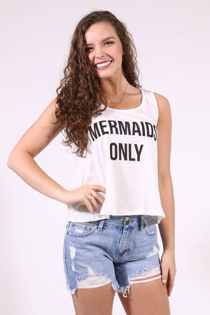 Mermaids Only Tank, White