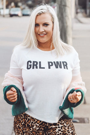 GRL PWR Sweater, White