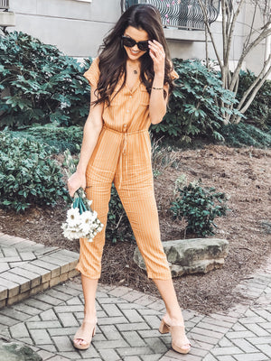 Striped Tie Waist, Mustard
