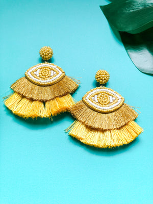 Evil Eye Earring, Mustard