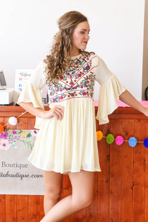 Bell Sleeve Floral Dress, Natural