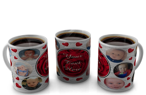 Personalized Collage Heart Mug