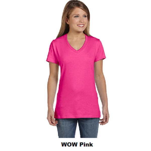 Hanes Ladies Cotton V-Neck T