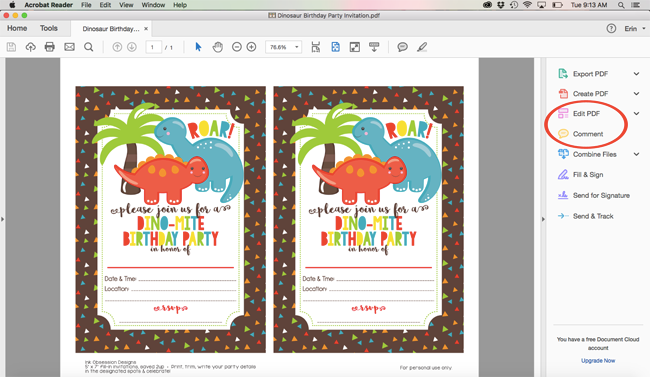 Were Using Our Dinosaur Birthday Party Invitations For This Example